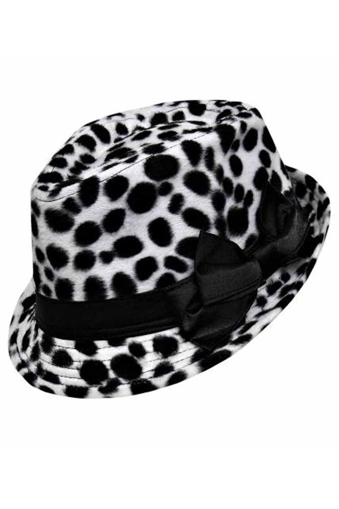 7285e0d60c190 Cheetah Spotted Plush Fedora With Black Satin Bow
