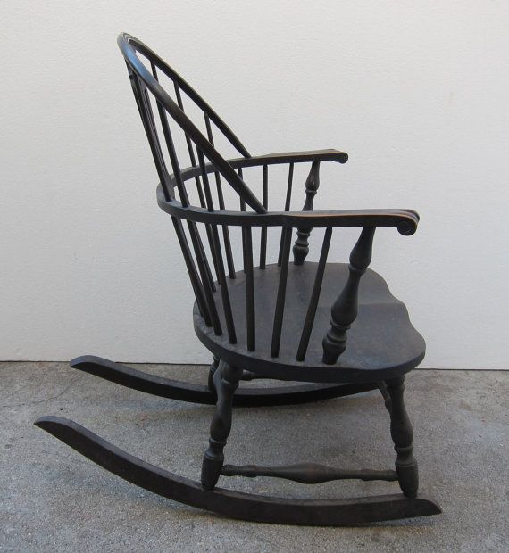 Antique Windsor Rocking Chair Hardwood By