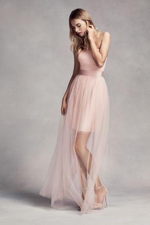 Bridesmaid Dress With Illusion Overskirt David S Bridal Blush Pink Wedding Dress Pink Bridesmaid Dresses Vera Wang Bridesmaid Dresses