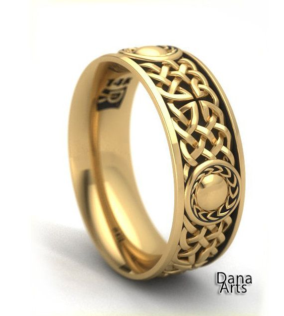 14k Gold Celtic Knot Shield Band By Danaarts On Etsy Silver Celtic Knot Ring Celtic Knot Ring Gold Celtic Knot