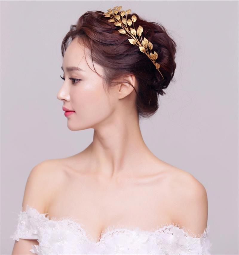 Wedding Hairstyle Price List: Gold Leaf Baroque Crown Tiara Head Jewelry Hair