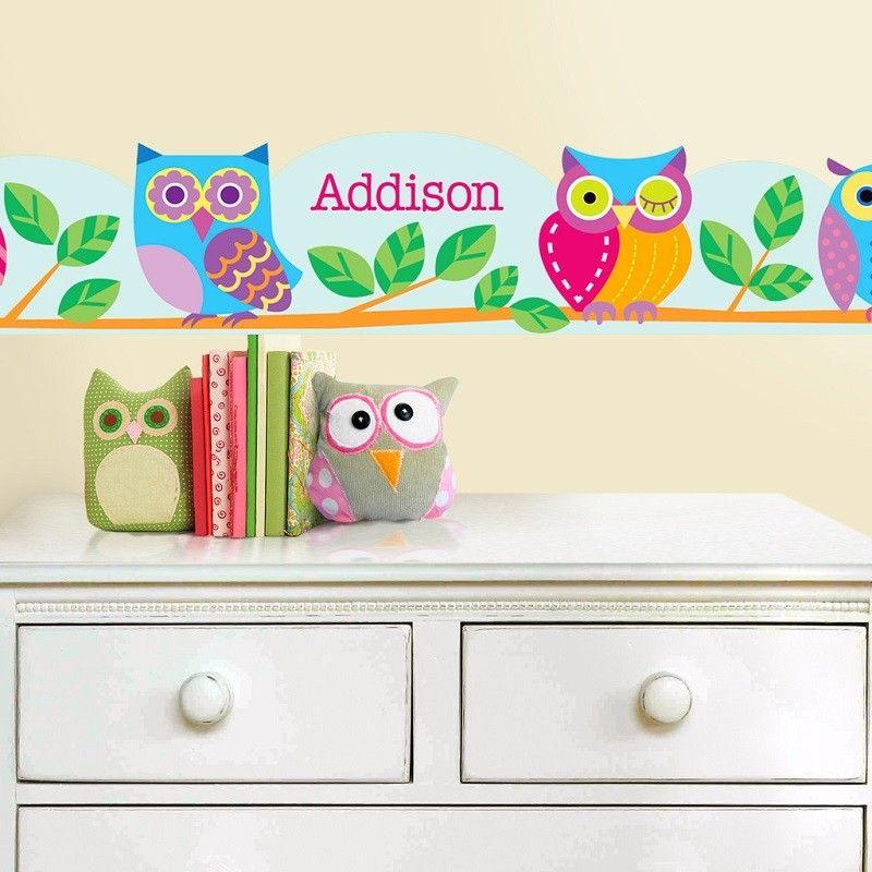 Personalized Wall Border Decal Owl Wallart 67 99 Owl Wall Decals Owl Wall Personalized Wall