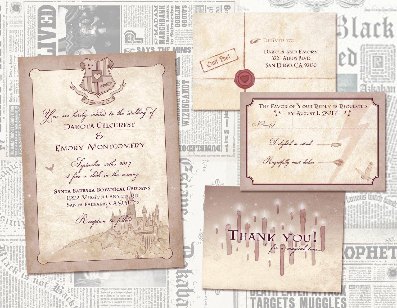 Harry Potter Digital Wedding Invitations // Geeky / Offbeat Wedding ...