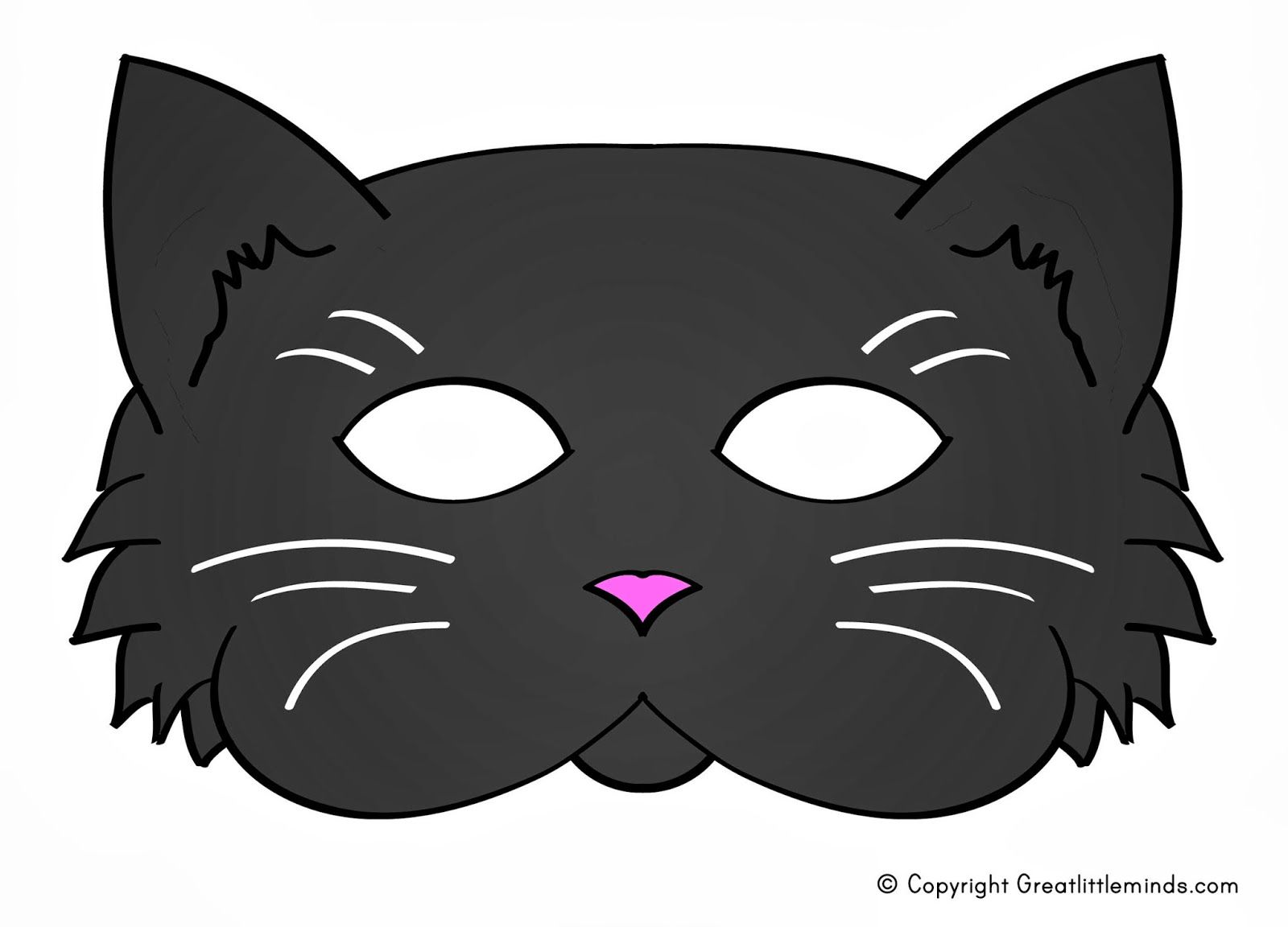 Early play templates 5 printable halloween cat masks to for Halloween face mask templates
