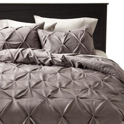 King 3pc Pinched Pleat Comforter Set Dark Gray Threshold