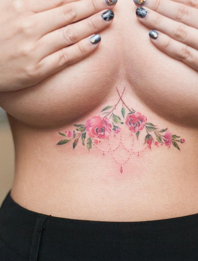 59673f2caeefa 25 Photos That Will Convince You To Finally Get An Underboob Tattoo.  Floral, mandala, and more cute and original underboob tattoo design ideas.
