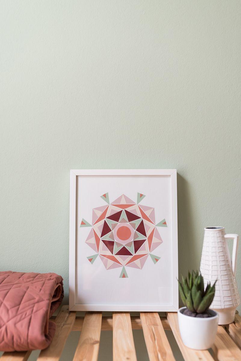 DIY Mandala Bild Im Boho Look Aus Farbkarten Aus Dem Baumarkt Als Günstige,  Selbstgemachte Deko Für Die Wand In Den Trendfarben Salbeigrün, Rosé Und  Rostrot