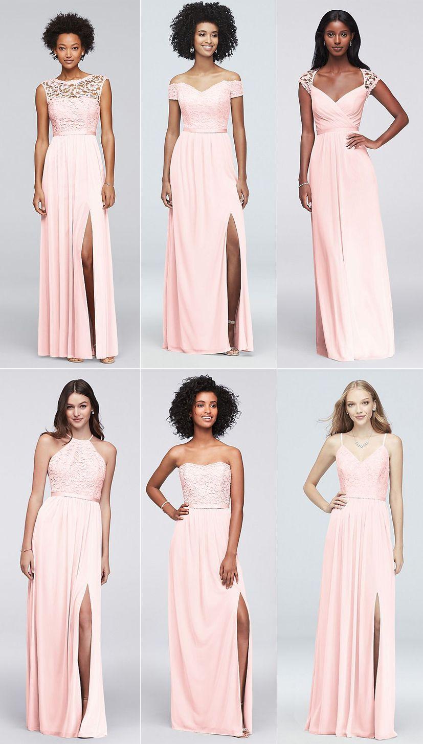 64606059117 David s Bridal petal pink lace bridesmaid dresses - F19328