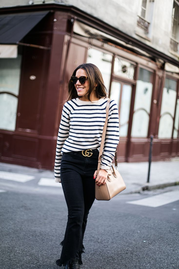 Strike a pose. Striped sweater+black cropped jeans+black boots+nude shoulder bag+black Gucci belt+sunglasses. Fall Outfit 2016