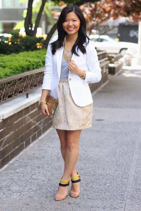 Skirt The Rules Blog  NYC fashion blogger  style blog  spring outfit  photos  Zara white blazer with gold buttons  H gray v-neck t-shirt  Forever  21 gold ... 3b776856a
