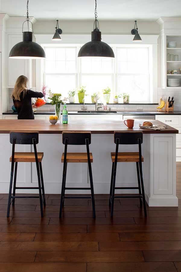 """Custom Walnut Countertop and 30"""" Bar Stools by Vermont ..."""
