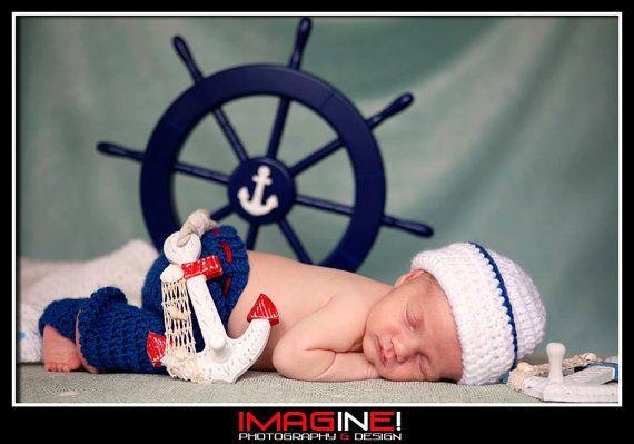 Baby Sailor Photo Prop/ Newborn Photo Prop/Sailor Hat and Pants Set/Nautical Newborn Prop/Sailor Boy