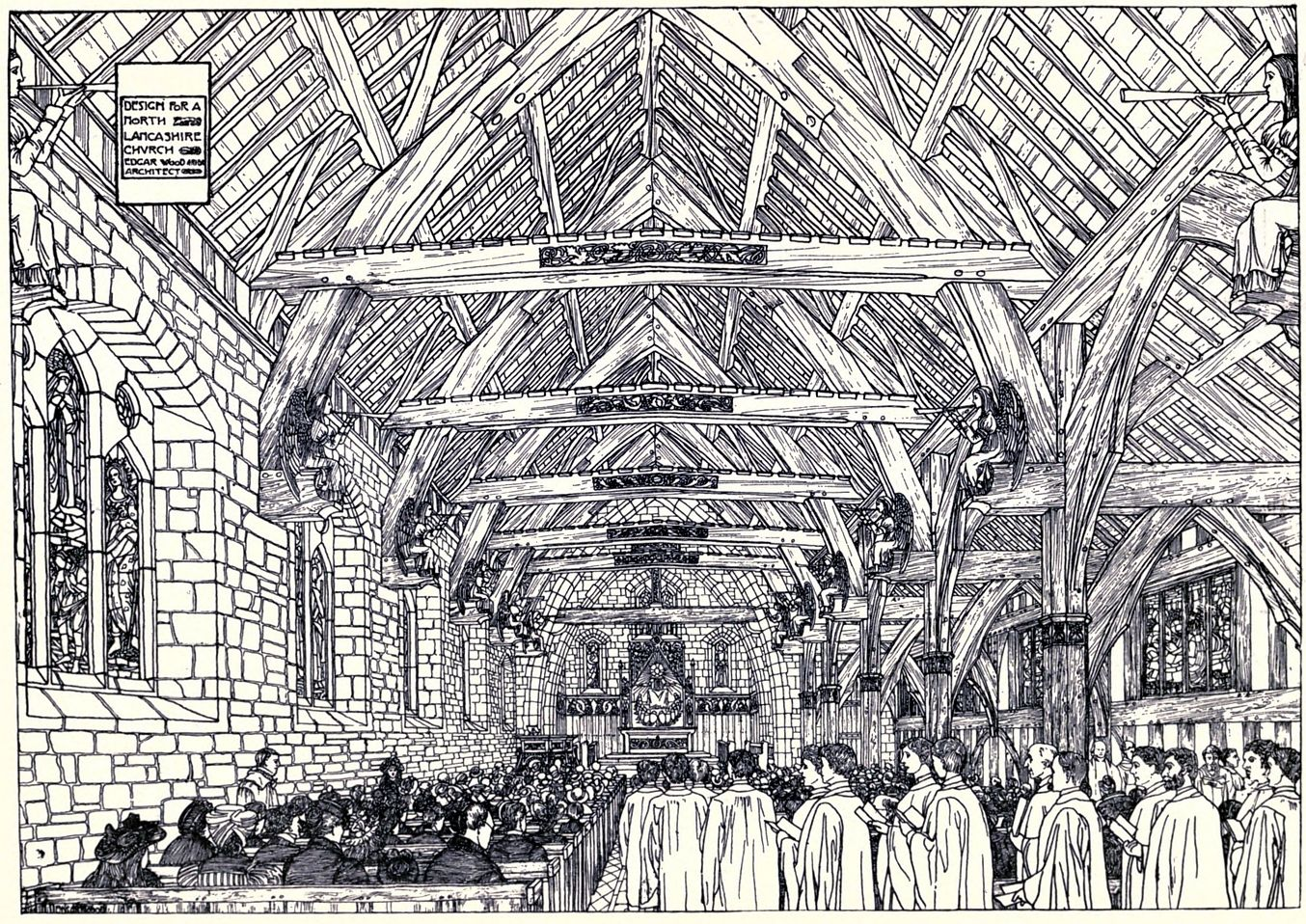 This is a design for a country church in North Lancashire.  Edgar Wood uses the beams and crucks found in old barns to give a real country flavour to the interior.  The drawing is great fun and it's a shame it was never built.