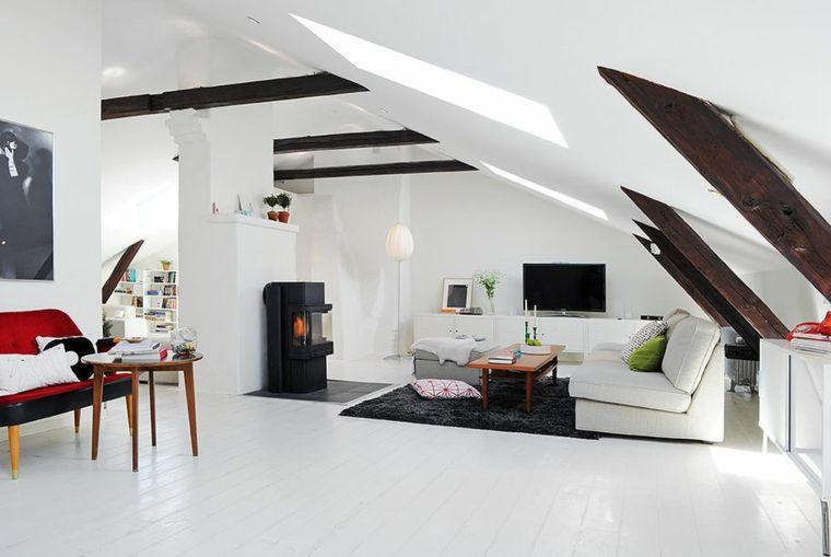 Divani Bianchi E Neri : Divano bianco e tappeto nero stufa moderna nera pareti e