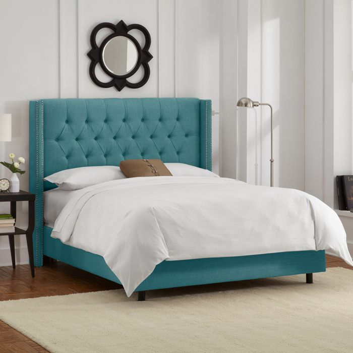 Gorgeous Turquoise Bed Furniture Wingback Bed Upholstered Beds