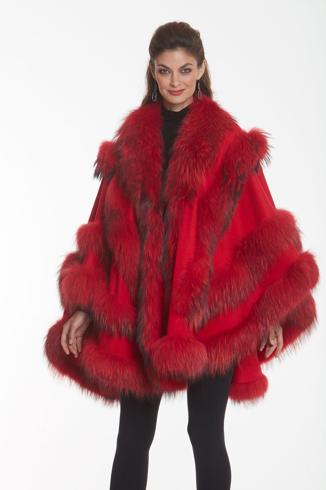 Ferrari Red Empress Cashmere Cape Finn Raccoon Trim Cashmere Cape Chic Winter Outfits Trendy Winter Fashion