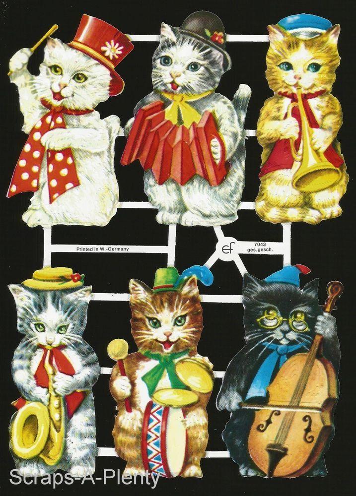 Cats /Animals   EF7407 German Embossed Scrap Die Cut Playful Kittens