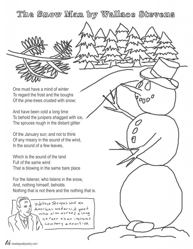 effective imagery in the poem the snow man by wallace stevens 'the snow man' by wallace stevens (1879-1955) was first published in 1921 in the magazine poetry, and was reprinted in stevens's first collection harmonium in 1923 it is one of stevens's most popular short poems.
