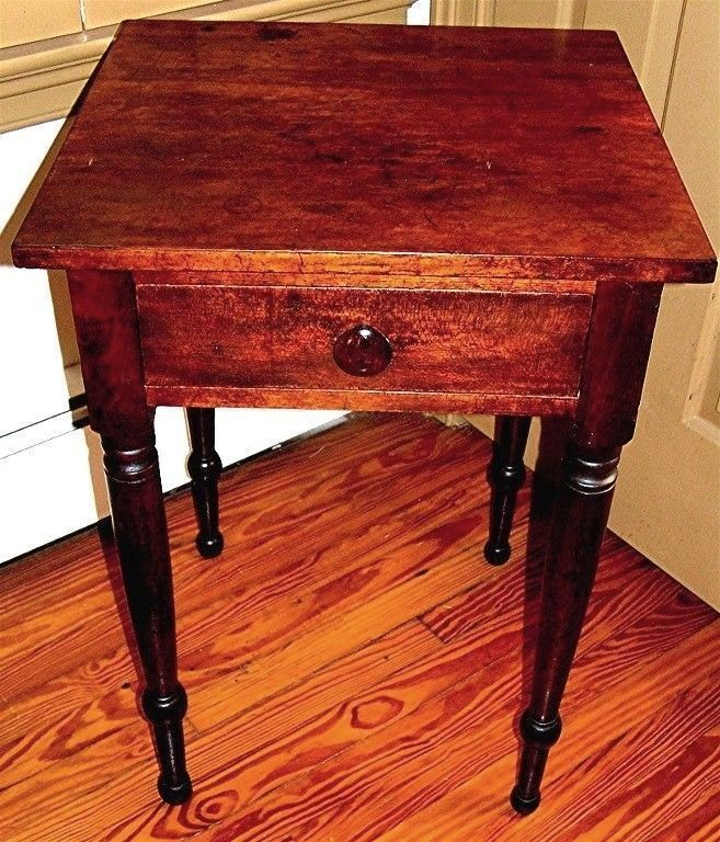 Antique Cherry Single Drawer Side Table Solid One Board Top C