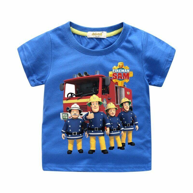Fireman Sam T-shirt Boys Girls Kids Short Sleeve Cotton Summer Casual Costumes