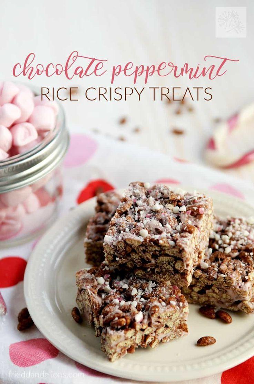 Chocolate Peppermint Vegan Rice Crispy Treats #crispytreats