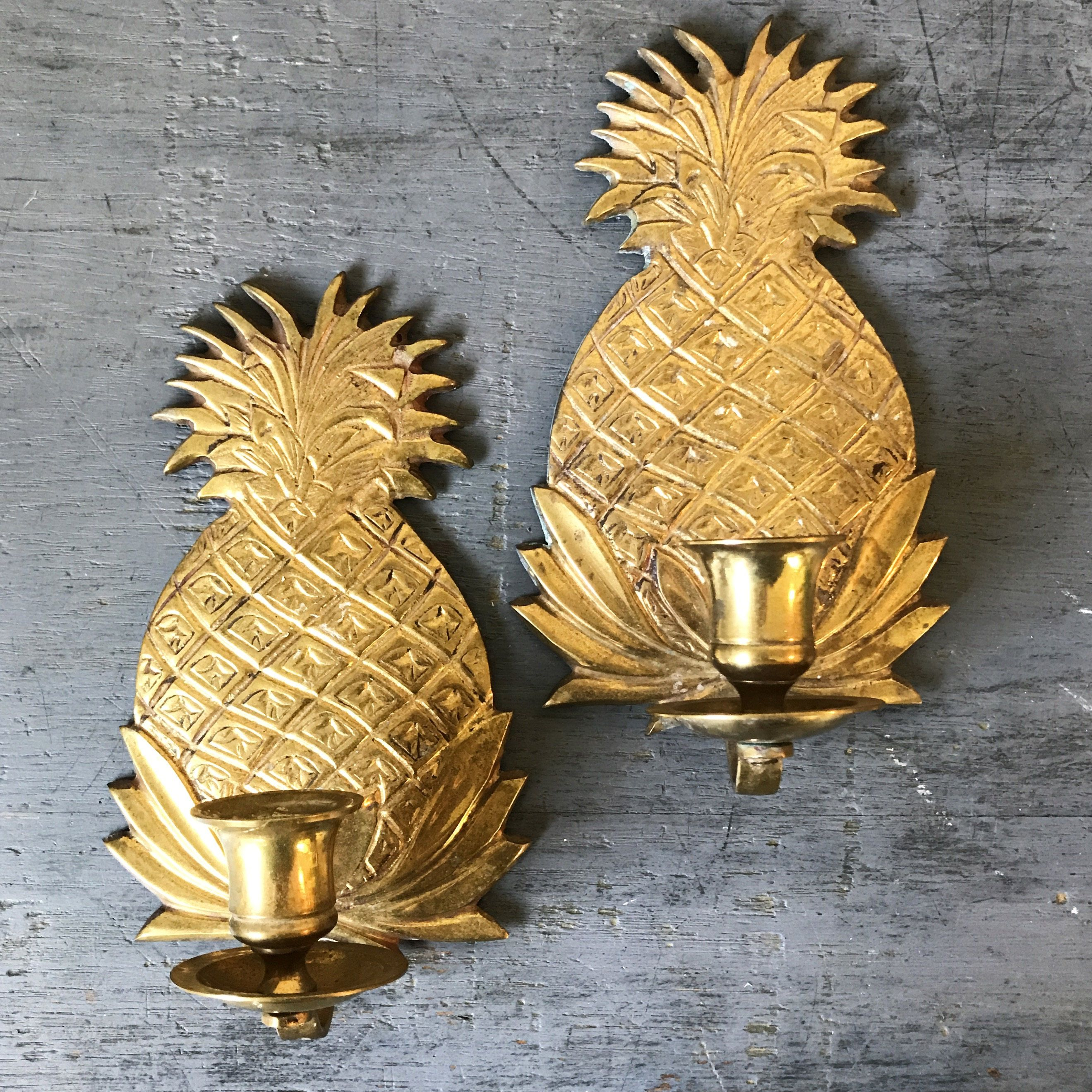 vintage brass candle sconces - pineapple candle holders - gold tiki ...