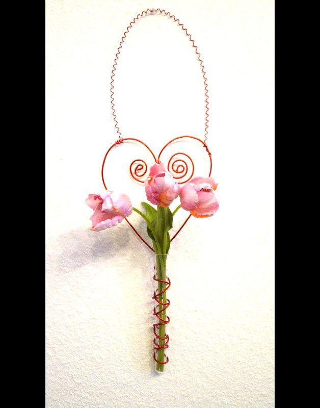 Herz Dekoration/Vase aus Draht, rot ohne Blumen