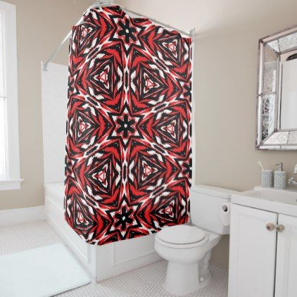 Black white and red kaleidoscope 9070 shower curtain - home decor