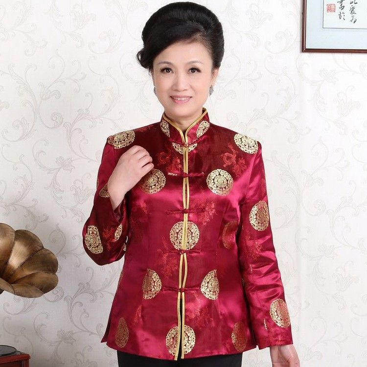 826f3f1cf Classic Burgundy Silk Mascot Print Traditional Chinese Jacket for Mother