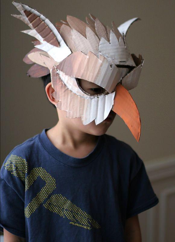 DIY Handmade Kids Cardboard Halloween Mask Project + Tutorial- or just for fun! & papagayo   Disfraz pájaro   Pinterest   Raven mask Diy cardboard ...