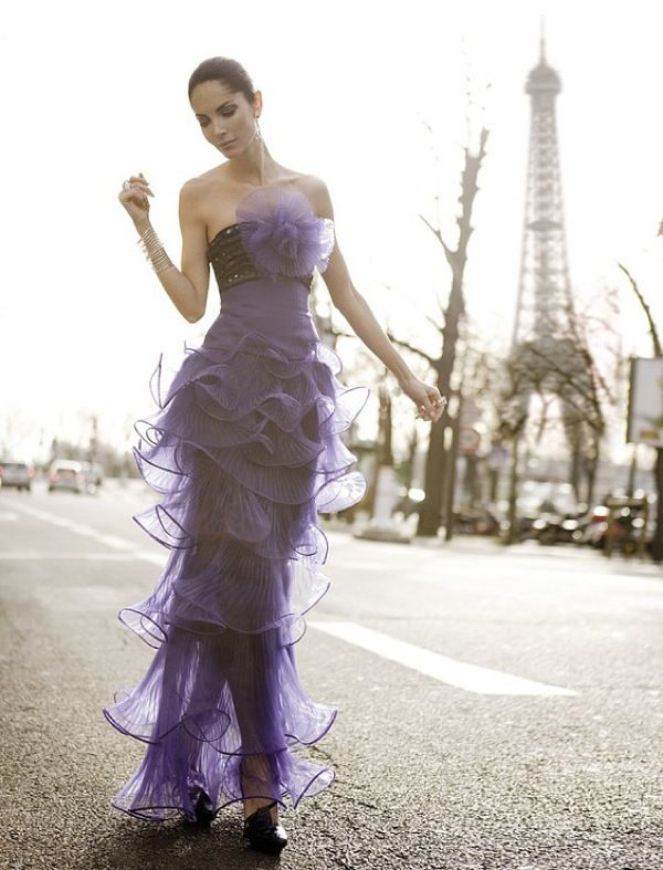 another incredible purple gown. and in paris at that...