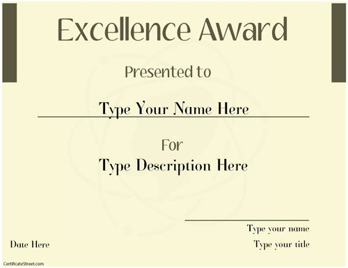 Business Certificate Excellence Award Template Certificatestreet