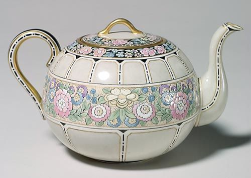 Willets Belleek Teapot With Colorful Satsuma Like Decoration Of Victorian Flowers Accented With Fired On Gold, Marked With The Belleek Willets Insignia And Signed By The Decorator, Alice Friller - American (New Jersey)   c.1879-1912  -  Prices4Antiques