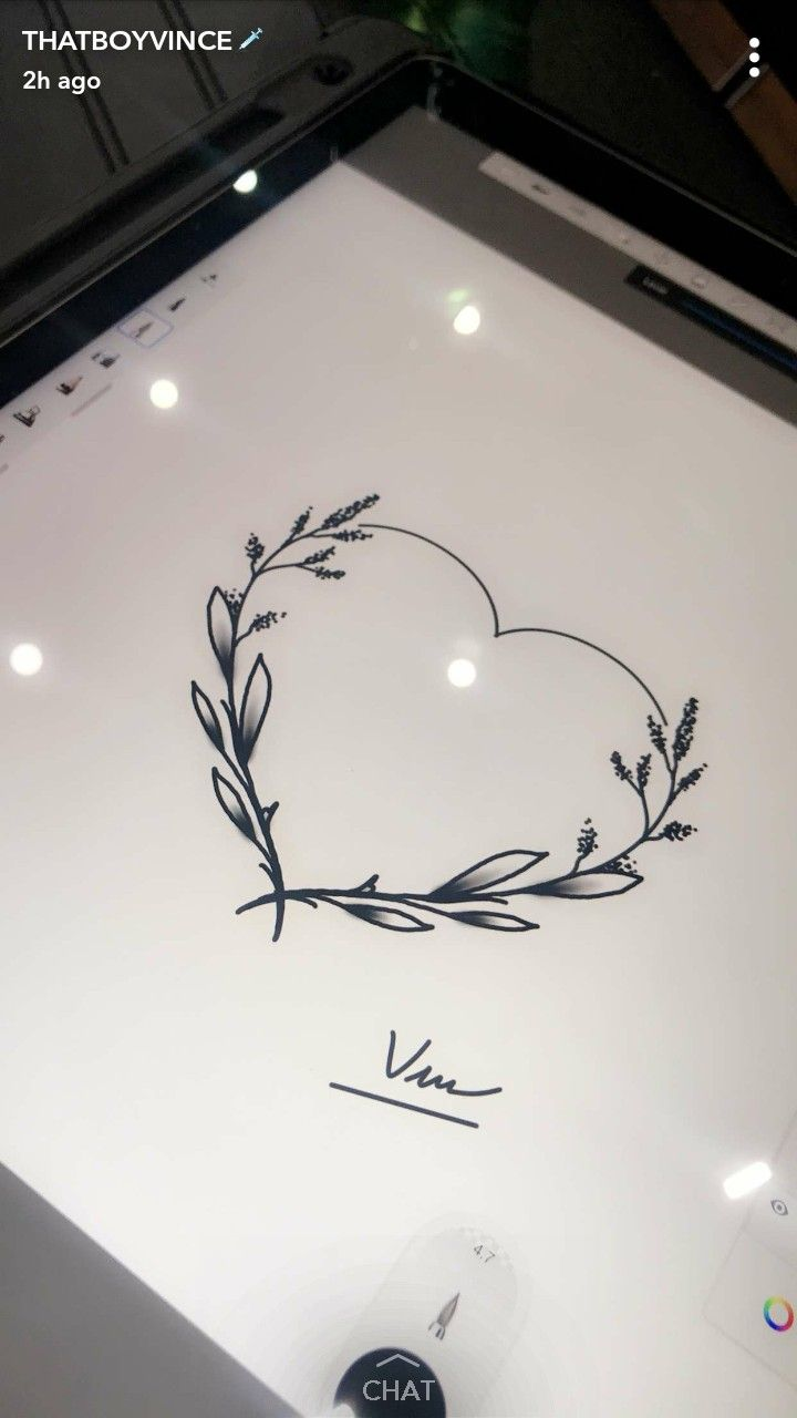 Flower heart simple line tattoo