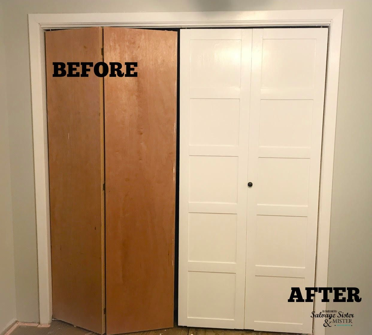 Diy Updating Bi Fold Closet Doors Old Closet Doors Home