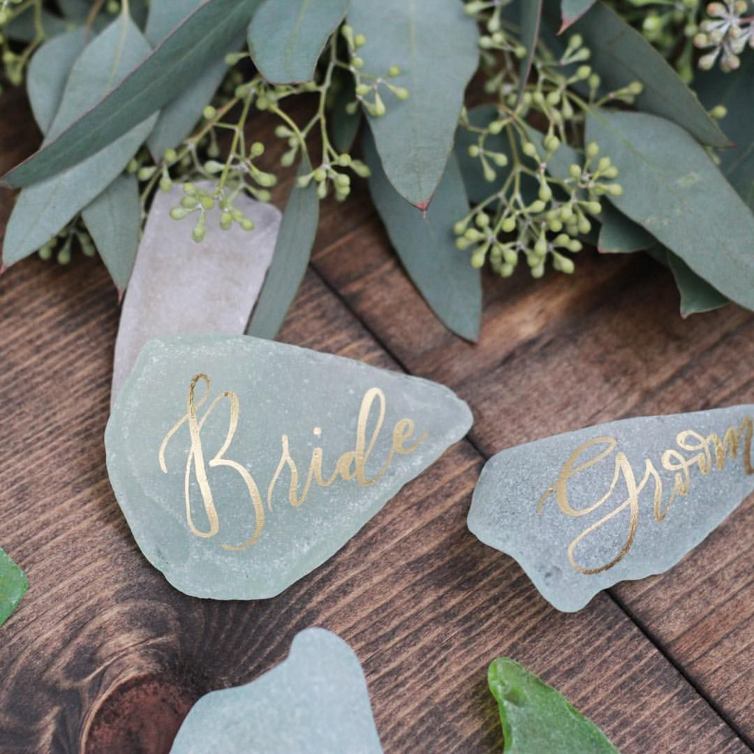 sea glass place cards these would be cute i like the gold