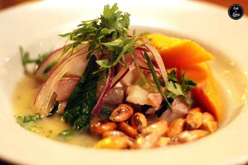 Cebiche algueado completo en Chifa restaurante Madrid