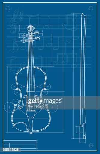 AS vector illustration of a violin in blueprint format Proportioned - new basic blueprint examples