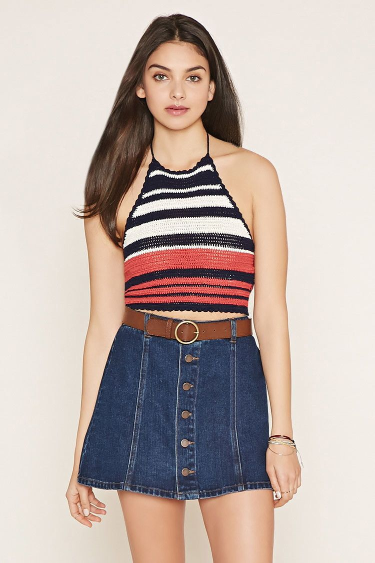Striped Sweater Knit Crop Top | Forever 21 - 2000152872