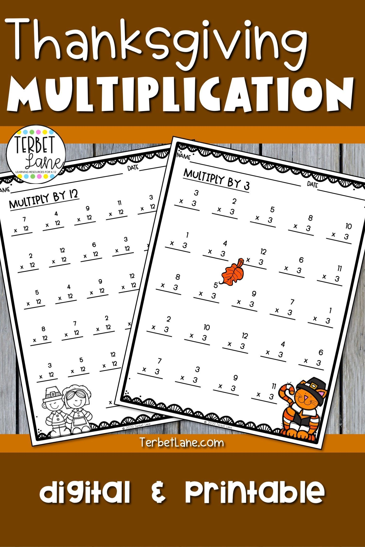 Thanksgiving Multiplication Worksheets Amp Digital