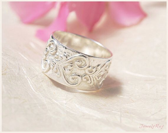 Wide Wedding Band , Unique Wedding Ring , Large Wedding Ring by JewellRay on HeartThis