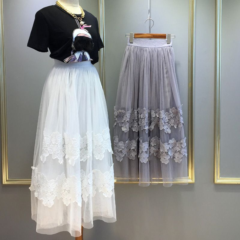 bohemian white black light grey maxi lace skirt tulle