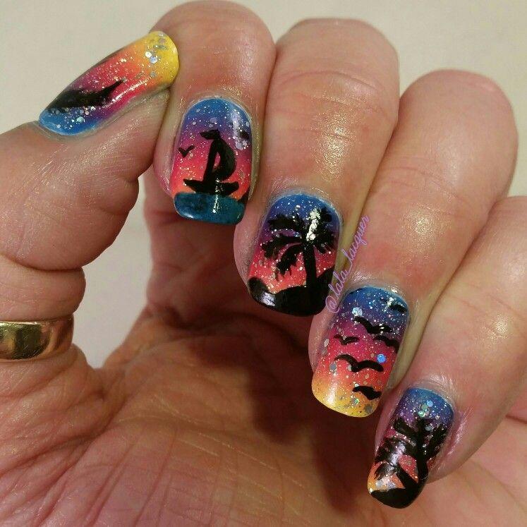 Nail Art - Sunset | Nails, Nail art, Creative nails