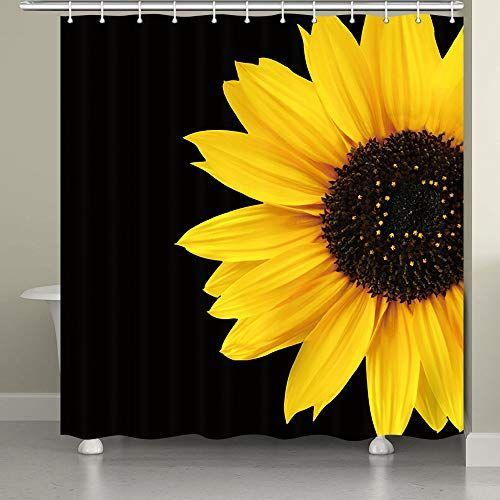Jawo Black And Yellow Sunflower Shower Curtain Shower Curtains Boutique In 2020 Sunflower Curtains Yellow Bathroom Decor Yellow Shower Curtains