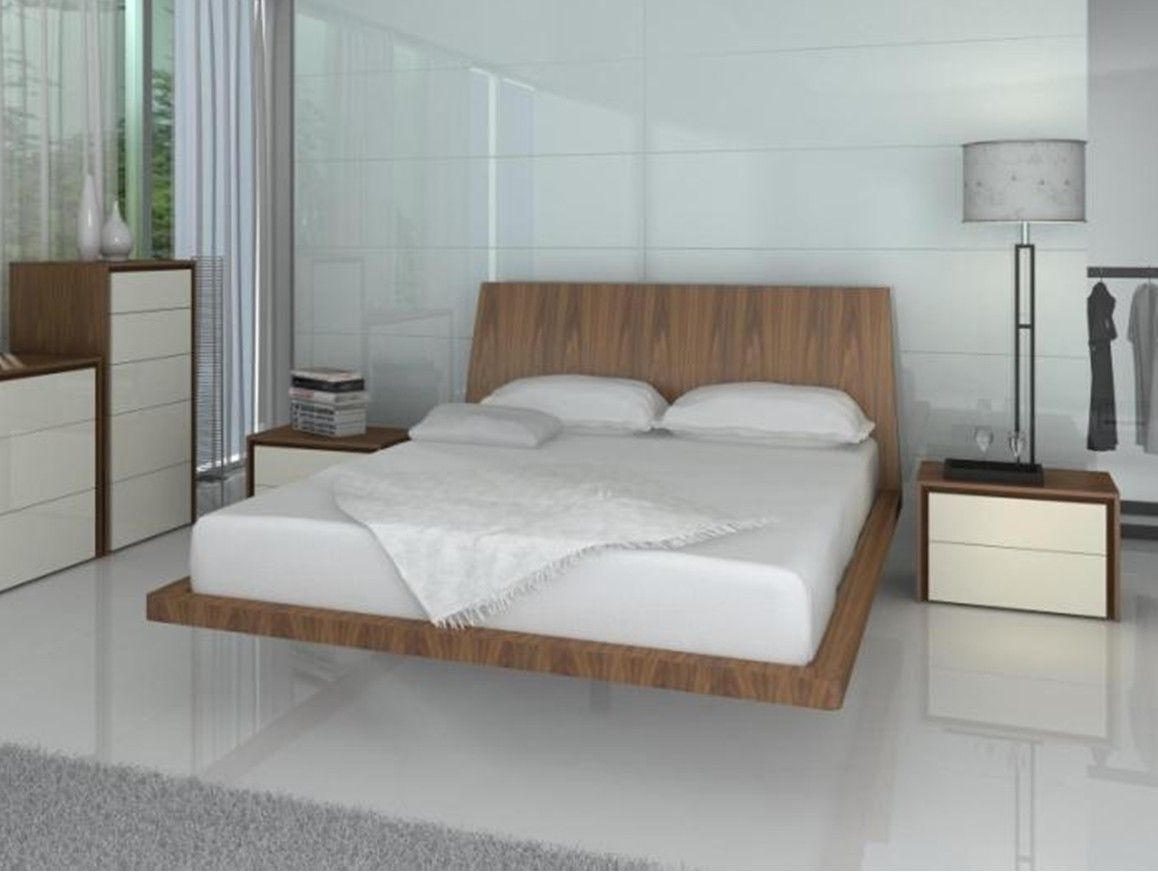 Floating Bed Frame with Wooden Storage