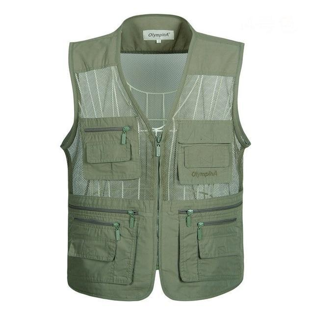 Solid Waistcoat Vest Mens.sleeveless Multi-pocket Summer Work Volunteer Outdoor