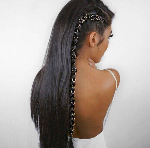 Beaded hair rings, braid accessories, hair hoop, rings for ...