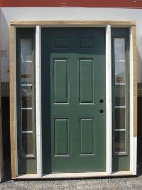 36 Prehung Fiberglass Entry Door With Sidelights 6 Panel Left Hand Full