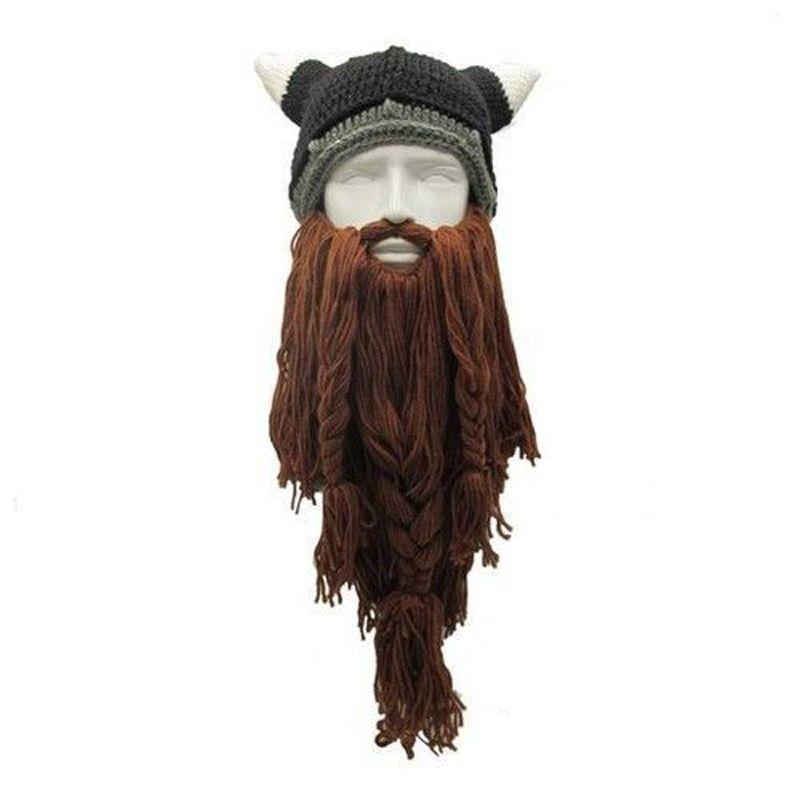 Men Head Beard Hat Cool Barbarian Vagabond Beanie Viking Horns Knit Bearded Caps