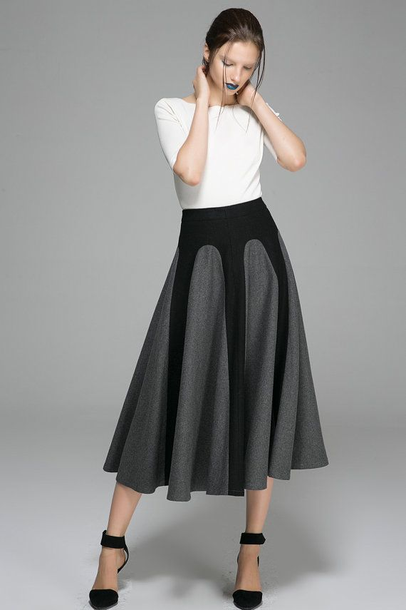 61b79e427ba5e9 Gray Black Winter Skirt - Long Two-Tone Flared Unique Designer Womens Skirt  (1381)